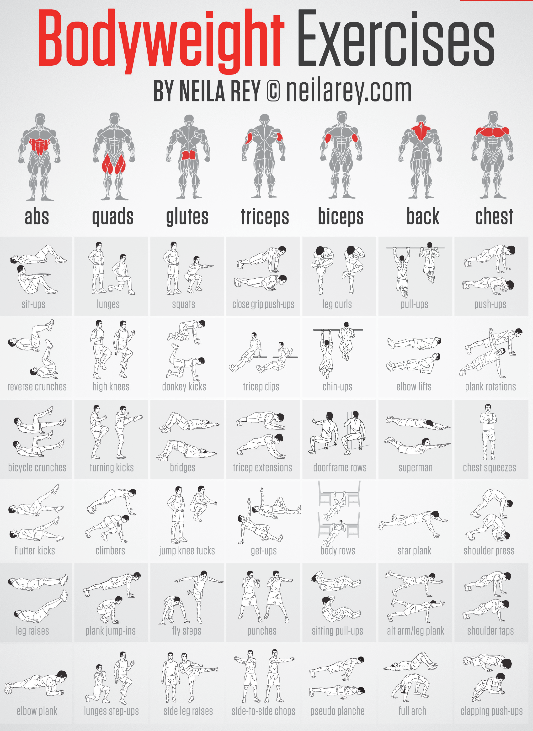 bodyweight workout chart: Bodyweight exercises chart and travel workout cards 64tk tv